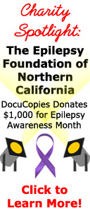 Charity spotlight - DocuCopies donates $1,000 to the Epilepsy Foundation of Northern California for Epilepsy Awareness Month